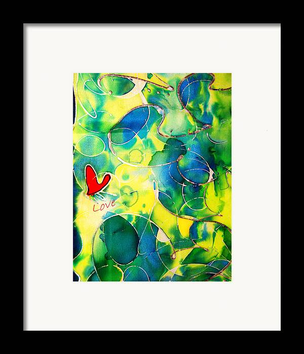 Abstract Framed Print featuring the painting Silk Painting With A Heart by Alexandra Jordankova