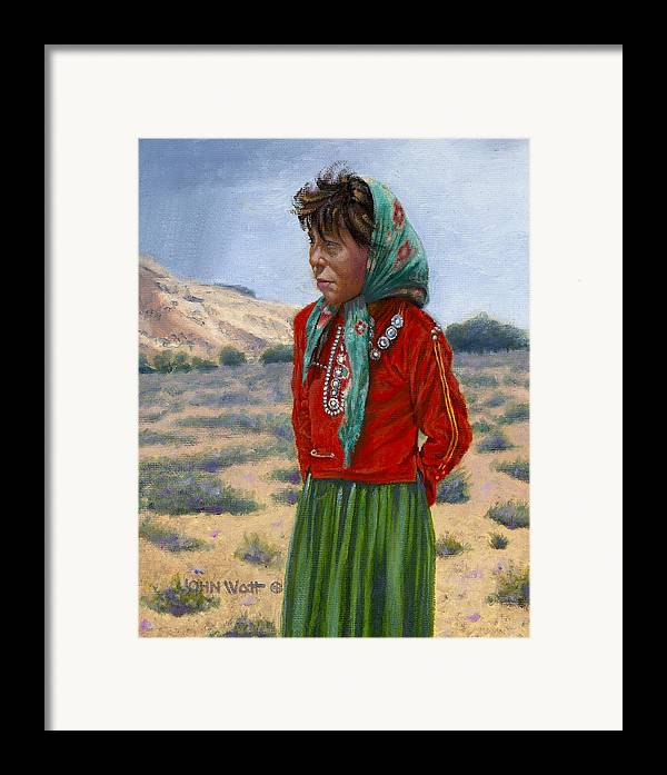 Navajo Indian Southwestern Monument Valley Framed Print featuring the painting Silk Scarf by John Watt