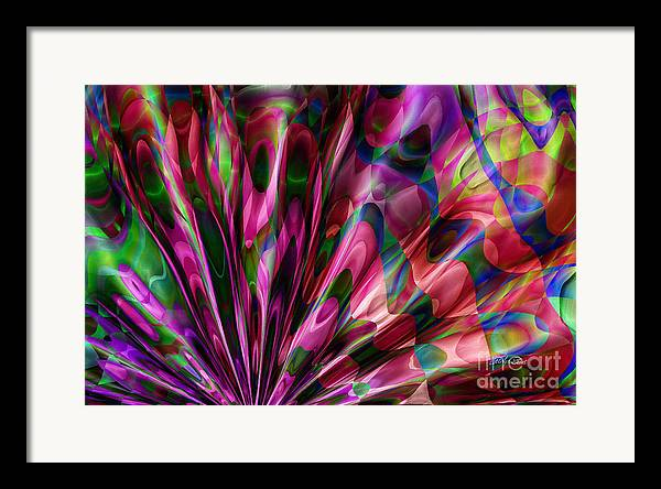 Abstract Realism Colors Fans Abstract Digital Framed Print featuring the digital art Silken Fan by Carolyn Staut