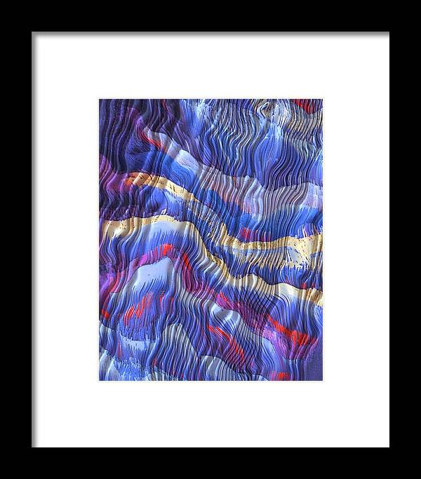 Silky Dreams Abstract Mixed Media Textile Fabric Fun Contemporary Blue Yellow Framed Print featuring the mixed media Silky Dreams by Susan Epps Oliver