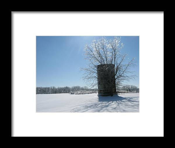 Sun Framed Print featuring the photograph Silo In The Snow by Martie DAndrea