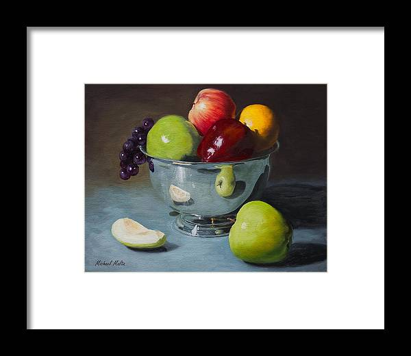 Still Life Framed Print featuring the painting Silver Bowl Of Fruit by Michael Malta
