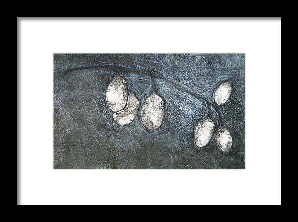 Mono Print Framed Print featuring the mixed media Silver Dollar Plant by Diana Davenport