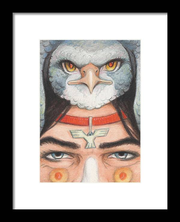 Atc Framed Print featuring the drawing Silver Hawk Warrior by Amy S Turner