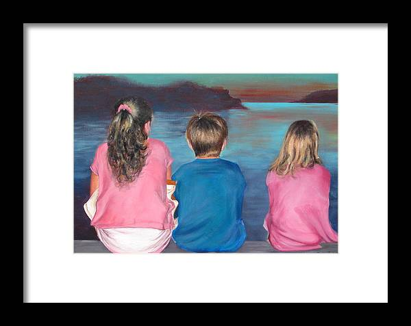Beach Framed Print featuring the painting Silver Island Sunset by Fiona Jack