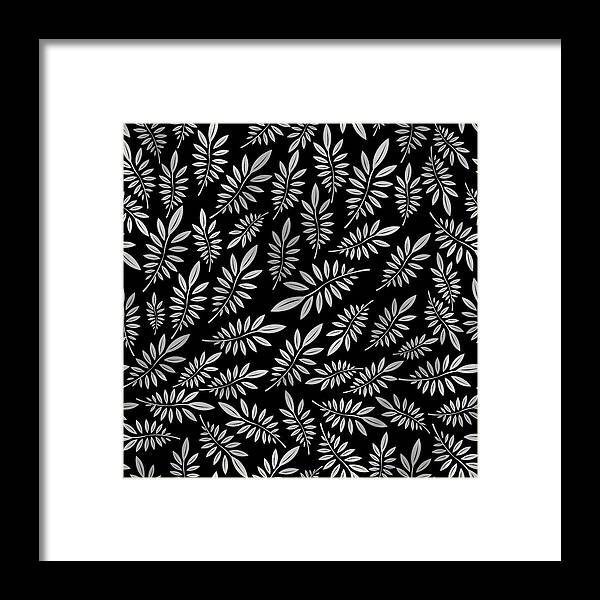 Pattern Framed Print featuring the digital art Silver Leaf Pattern 2 by Stanley Wong