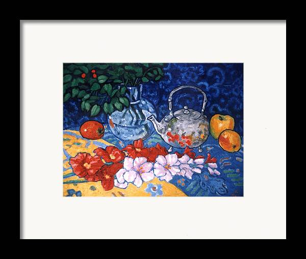 Still Life Framed Print featuring the painting Silver Tea Pot by Paul Herman