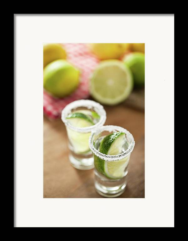 Vertical Framed Print featuring the photograph Silver Tequila, Limes And Salt by by Marion C. Haßold, www.marionhassold.com
