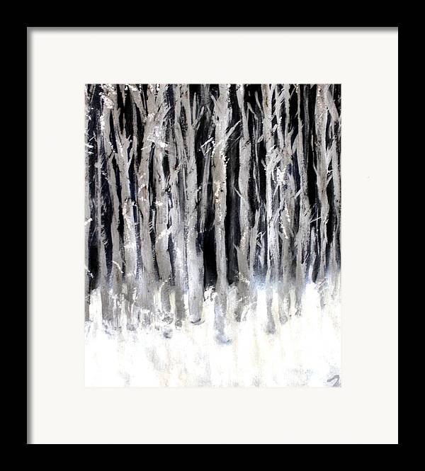 Forest Framed Print featuring the painting Silver Trees by Michela Akers