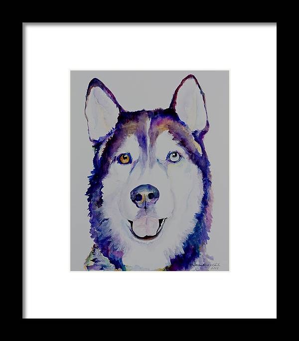 Siberian Husky Framed Print featuring the painting Simba by Pat Saunders-White