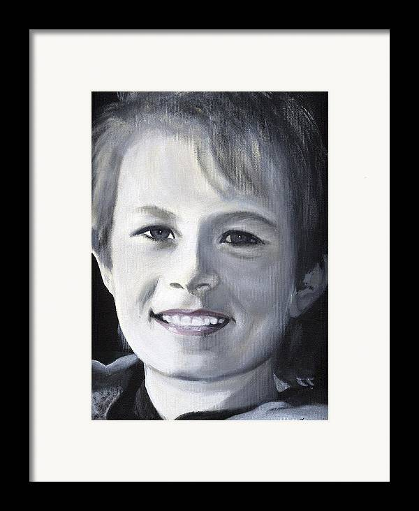 Portrait Framed Print featuring the painting Simon by Fiona Jack