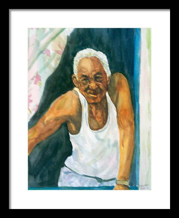 Simon Framed Print featuring the painting Simon Greets The Day by Ruth Mabee