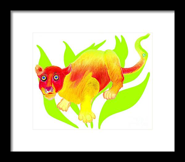 Wild Cat Framed Print featuring the painting Simon by Tess M J Iroldi