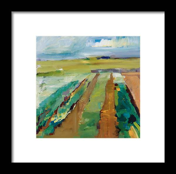 Impressionistic Landscape Framed Print featuring the painting Simple Fields by Michele Norris