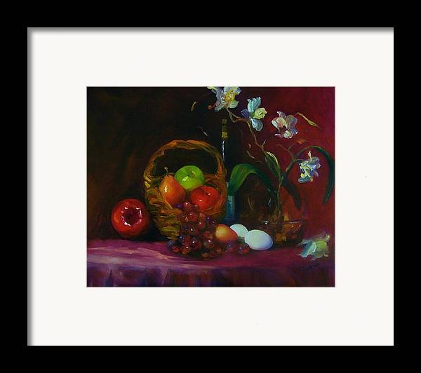 Fruit Basket Framed Print featuring the painting Simple Gifts by Maryanne Jacobsen
