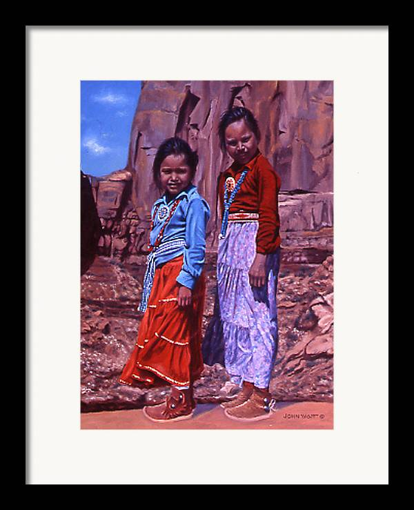 Navajo Indian Southwestern Monument Valley Framed Print featuring the painting Simple Pleasures by John Watt