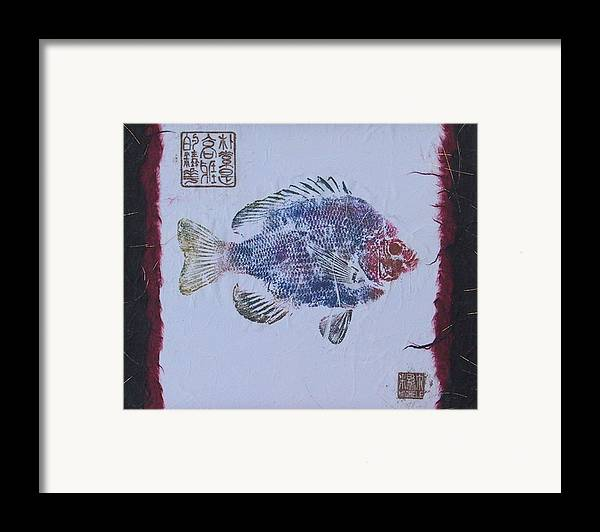 Gyotaku Framed Print featuring the mixed media Simpliciity Is The Heart Of Elegance by Michele Caporaso