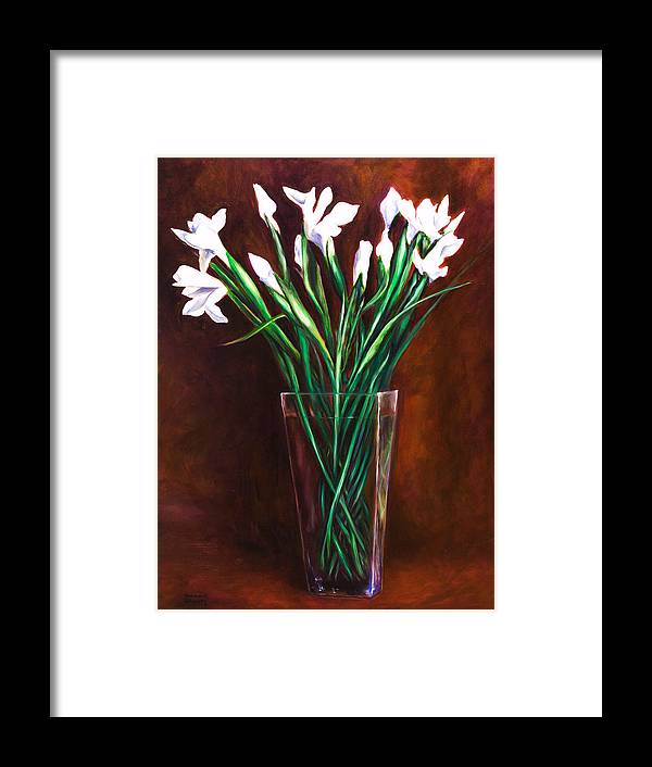 Iris Framed Print featuring the painting Simply Iris by Shannon Grissom
