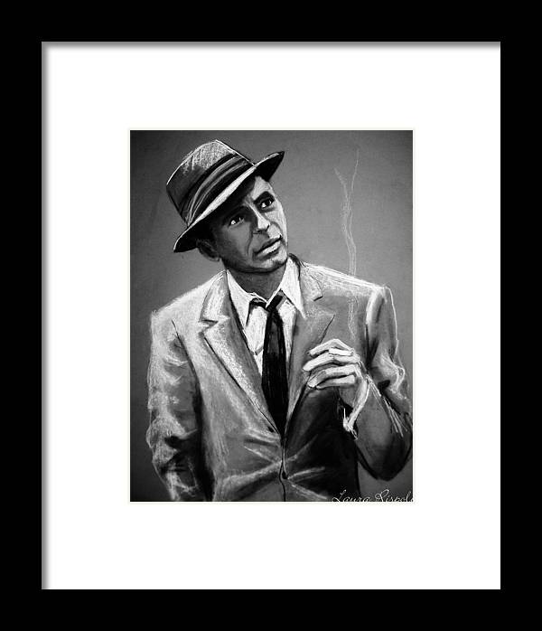Frank Sinatra Framed Print featuring the drawing Sinatra by Laura Rispoli