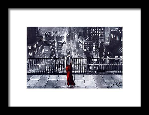 Oil Framed Print featuring the painting SinCity by Yuriy Shevchuk