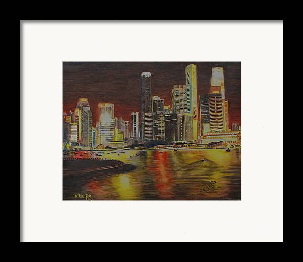 Cityscape Framed Print featuring the painting Singapore Nights by Nik Helbig