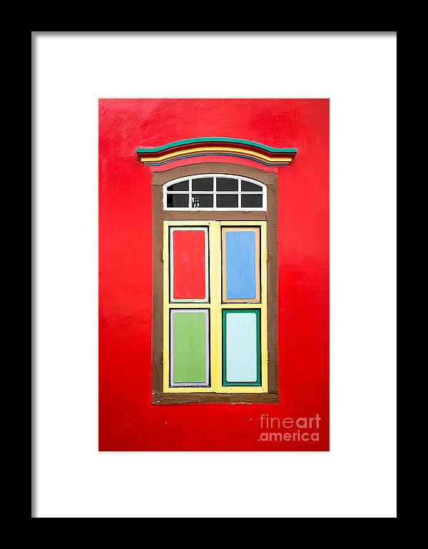Window Framed Print featuring the photograph Singapore Red Window by Delphimages Photo Creations