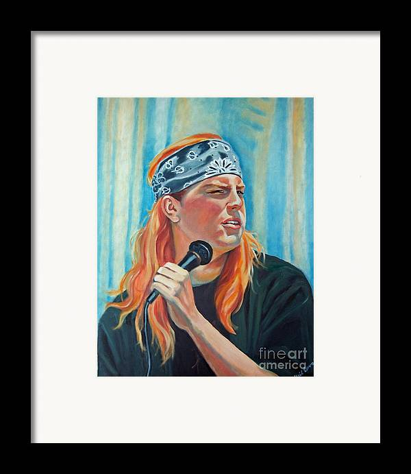 Portrait Framed Print featuring the painting Singer For The Band by Gail Zavala