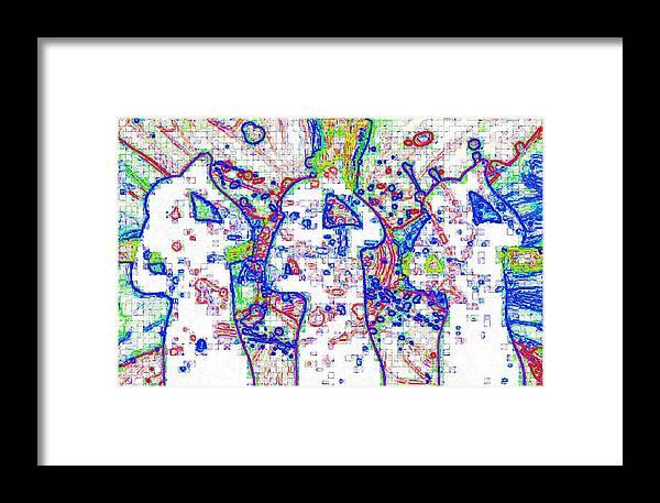 Digital Media Framed Print featuring the digital art Singing by Karen Elzinga