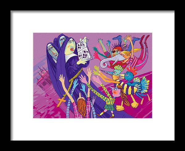 Sisters Framed Print featuring the digital art Singing Nuns by Annabel Lee