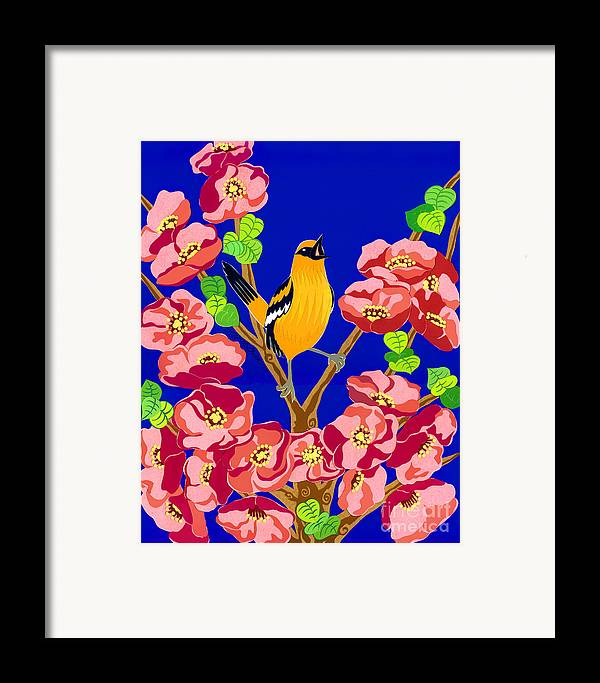 Nature Framed Print featuring the drawing Singing Oriole by Lucyna A M Green