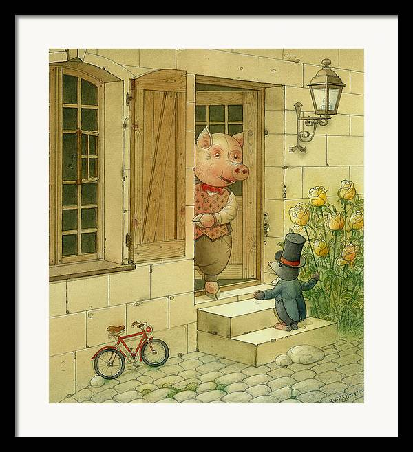 Singer Pig Mole Street Town Roses Animals Framed Print featuring the painting Singing Piglet by Kestutis Kasparavicius