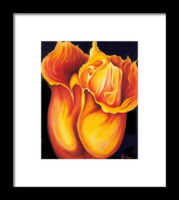 Surreal Tulip Framed Print featuring the painting Singing Tulip by Jordana Sands