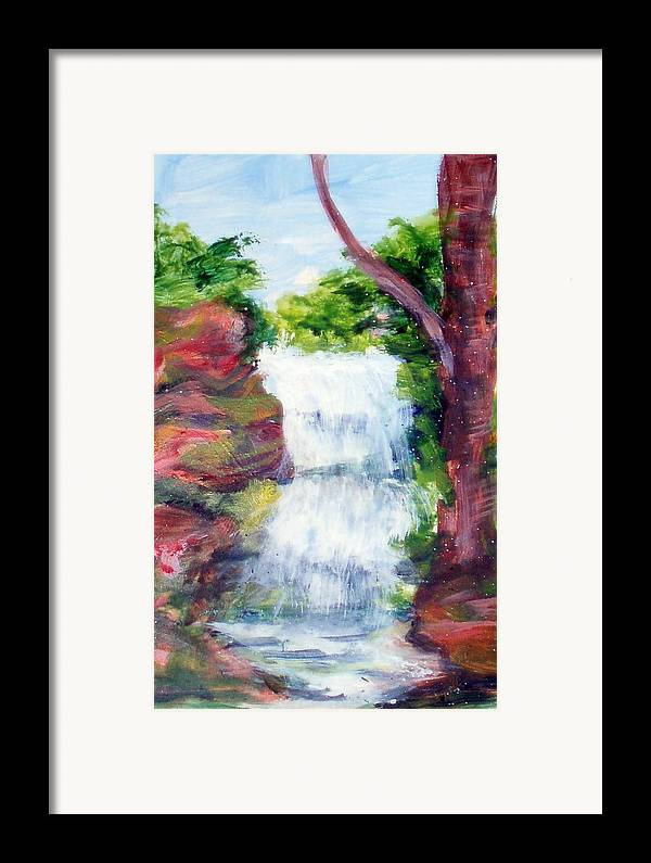 Falling Water Framed Print featuring the painting Singing Water by Lia Marsman