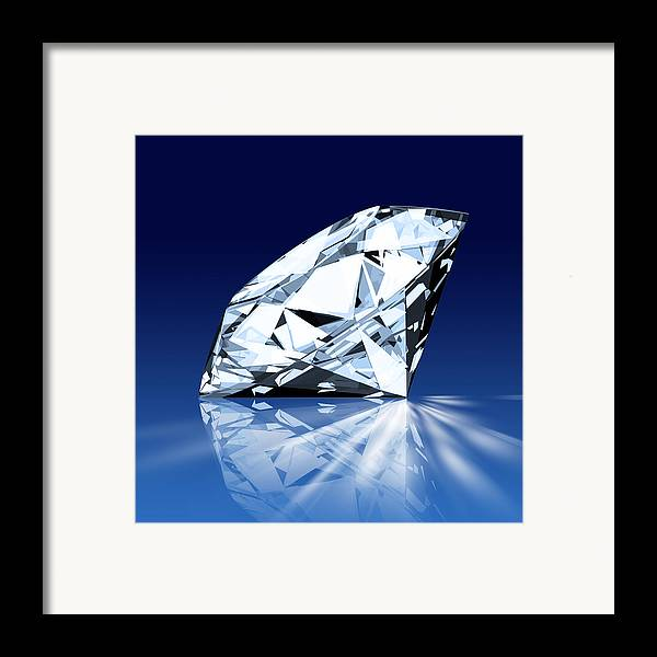 Background Framed Print featuring the photograph Single Blue Diamond by Setsiri Silapasuwanchai