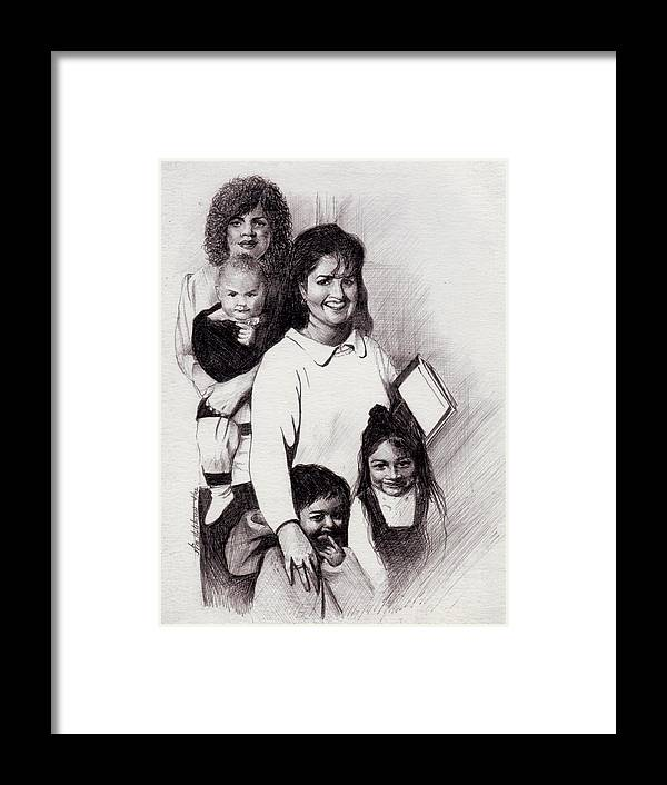Drawing Framed Print featuring the drawing Single Mothers by William Hutchison
