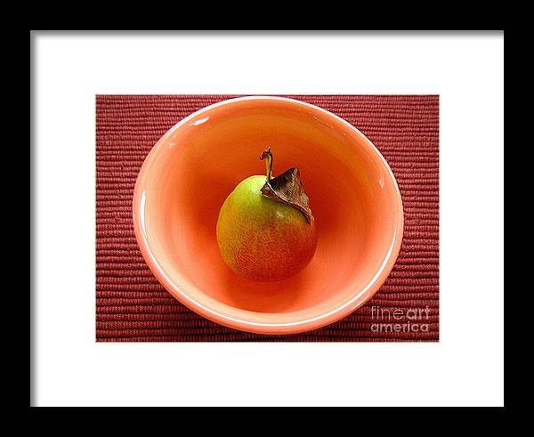 Nature Framed Print featuring the photograph Single Pear In A Bowl Too by Lucyna A M Green
