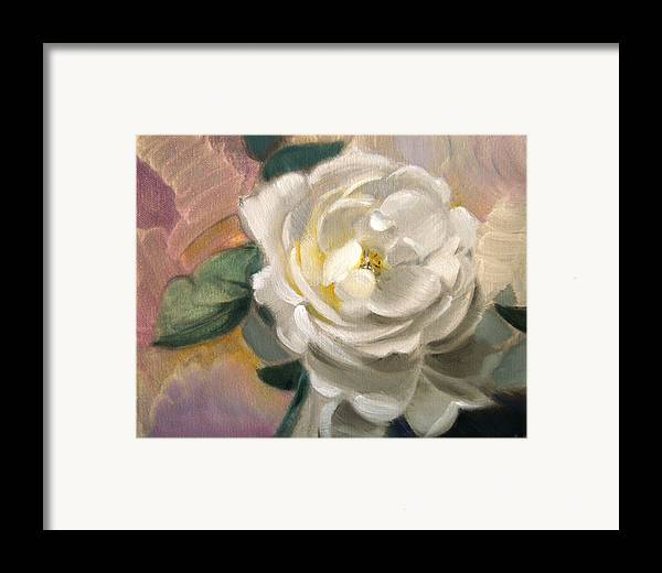 Floral Roses Framed Print featuring the painting Single Rose by Patrick McClintock