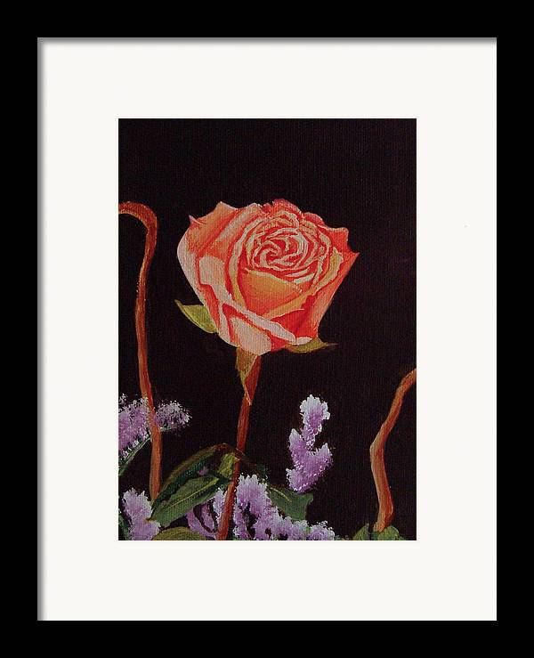 Rose Framed Print featuring the painting Single Rose by Quwatha Valentine