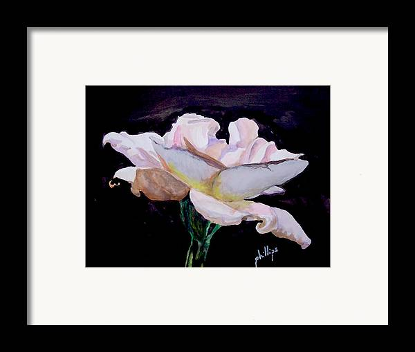 White Rose Framed Print featuring the painting Single White Rose by Jim Phillips