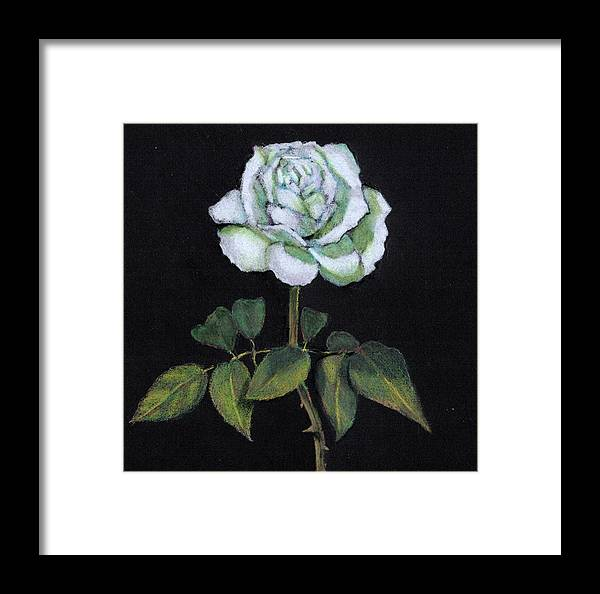 Rose Framed Print featuring the drawing Single White Rose by Joyce Geleynse