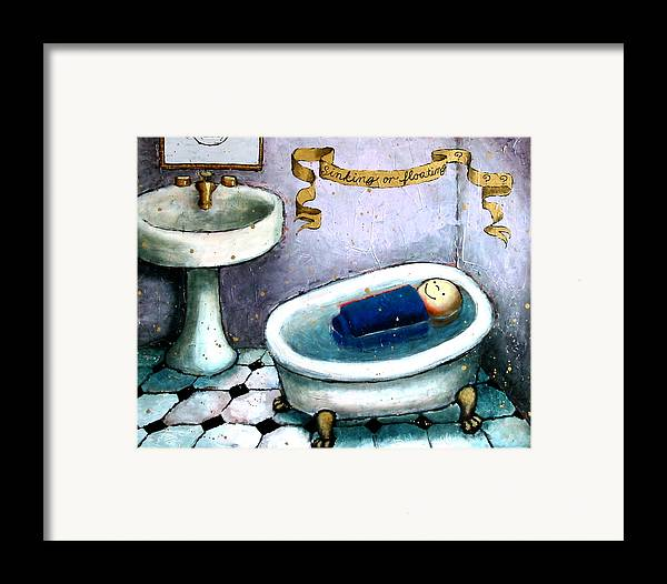 Doll Framed Print featuring the painting Sinking Or Floating by Pauline Lim