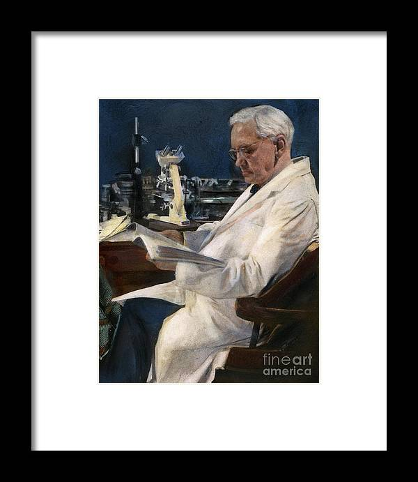 1954 Framed Print featuring the drawing Sir Alexander Fleming by Granger