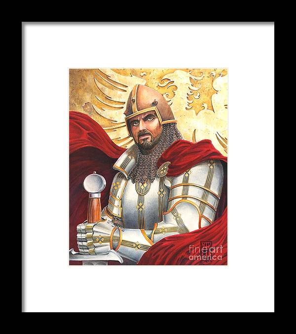 Swords Framed Print featuring the drawing Sir Gawain by Melissa A Benson