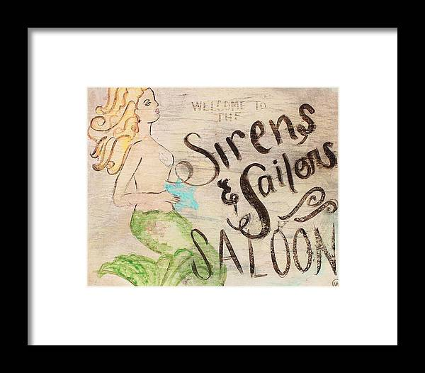 Mermaid Framed Print featuring the painting Siren Saloon by Nadine Makos