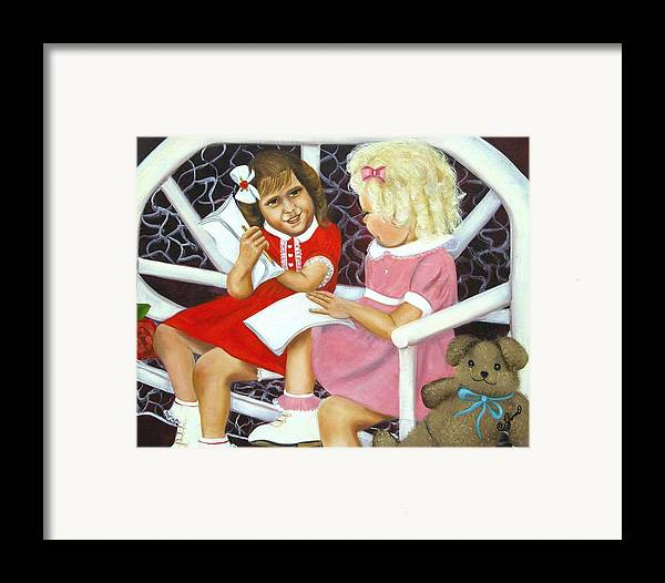 Children Framed Print featuring the painting Sister Chat by Joni McPherson