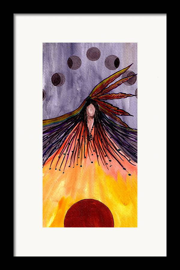 Original Ar Framed Print featuring the painting Sister Moon by K Hoover