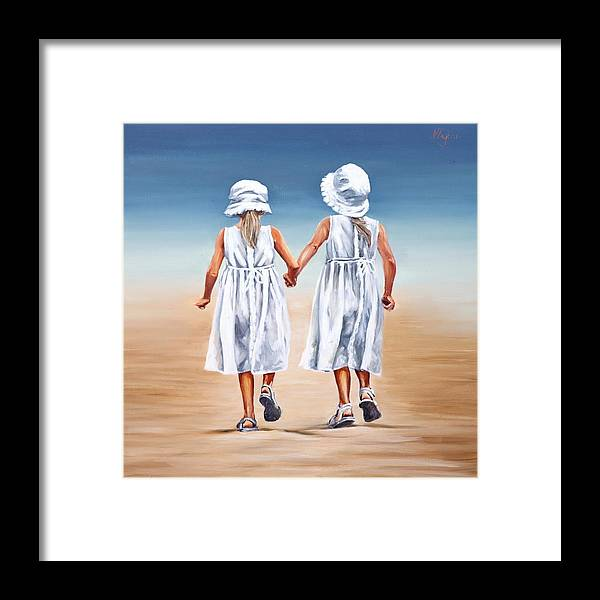 Sisters Framed Print featuring the painting Sister S Walk by Natalia Tejera