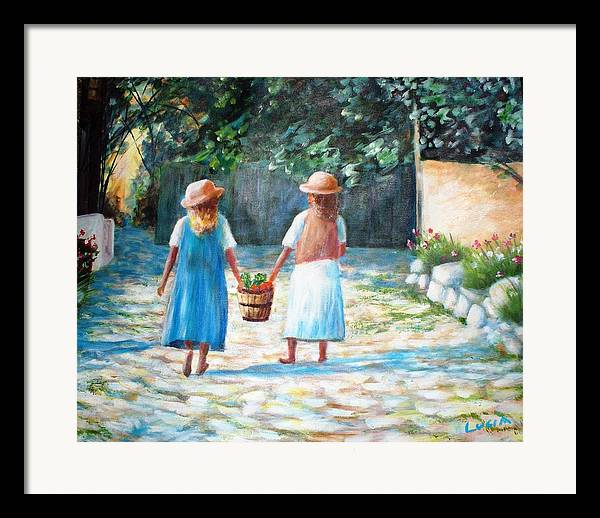 Garden. Girls.flowers. Fruit. Framed Print featuring the print Sisters by Carl Lucia