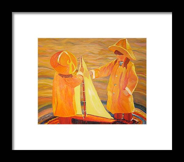 Sisters Framed Print featuring the painting Sisters by Dorota Nowak