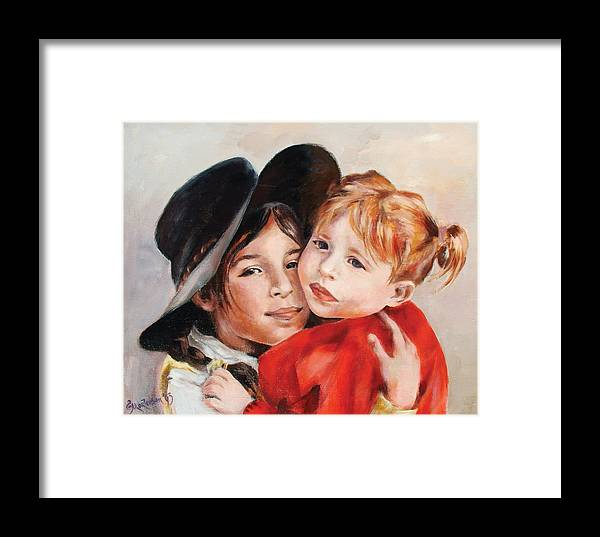Portrait Framed Print featuring the painting Sisters by Ekaterina Mortensen